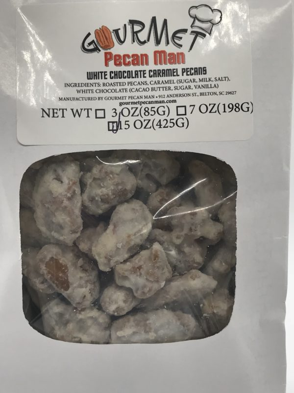 3 oz white cholcoate caramel pecans