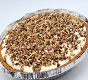white choclate and carmel pie